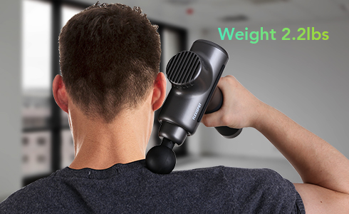 The handheld massage gun only weighs 2.2 lbs. and can be very comfortably held in just one hand. The durable, anti-slip silicone grip makes the massager easy and enjoyable to handle.